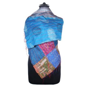 Kantha Work Patch Silk Scarf