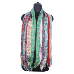 10 Strip Silk Saree Scarve