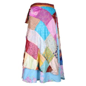 Vintage Silk Patch Work Magic Wrap Skirt