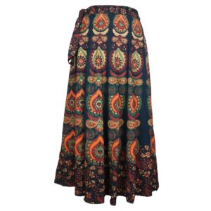 Cotton Wrap Around Skirt long Jaipur Print Boho Hippie Gypsy